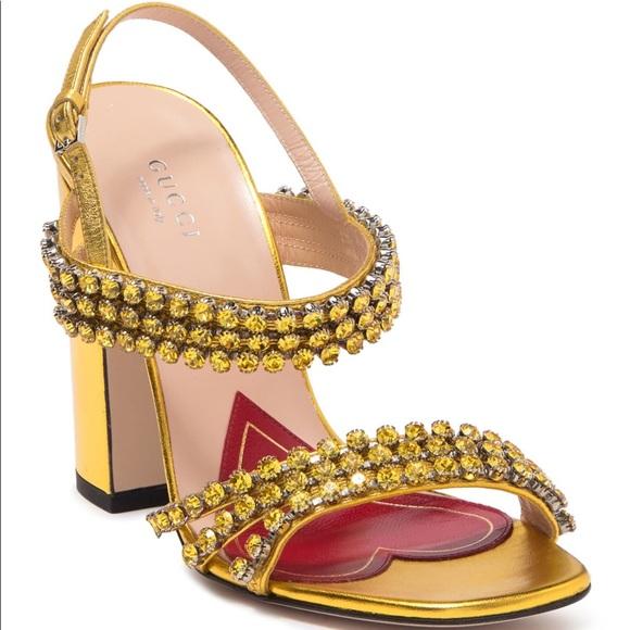 Gucci Bertie Metallic Gold leather sandal size 35